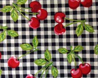 One, 17 Inch Piece of Fabric Material - Black Gingham Cherries