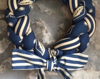 Decorative Rustic Blue Fabric Door or Wall Wreath