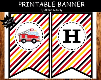 Fire Truck Party, Fire Truck Birthday Printable, Boy 1st Birthday Decorations, Firefighter Happy Birthday Banner, -Instant Download