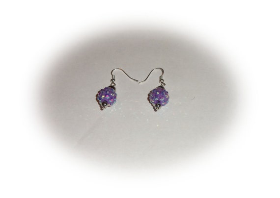 Purple bling Shamballa pave rhinestone crystal and silver bead dangle earrings jewelry