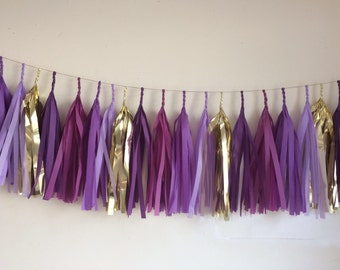 Tissue Tassel Garland- 17 Tassels Purple & Gold