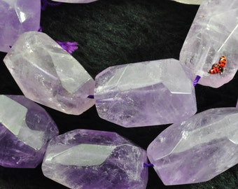 Natural Amethyst  faceted nugget beads 12-14mmx19-21mm length,15 inche