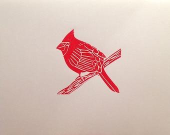 Cardinal linocut block print card