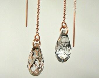 Crystal Rose Patina Swarovski Rose Gold-Filled Threader Earrings - Minimalist Jewelry - Rose Gold Threaders - Bridesmaid Earrings