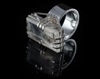 silver ring with dendritic quartz