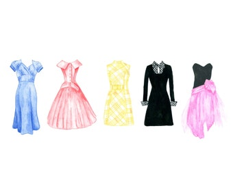 Pretty Fashion Dresses by Decade 1940 1950 1960 1970 1980 Watercolor Art Print PDF Instant Digital Download 8.5 x 11 and 8 x 10