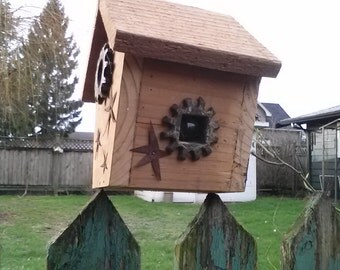 Birdhouse with Cedar and stars