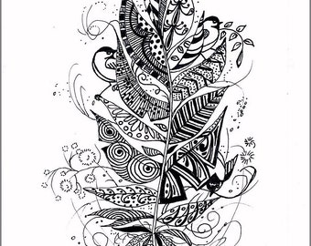 ORIGINAL INK DRAWING; feather, chickadees, zentangle, doodle, black and white, wall art, gift for all occasions, miniature art