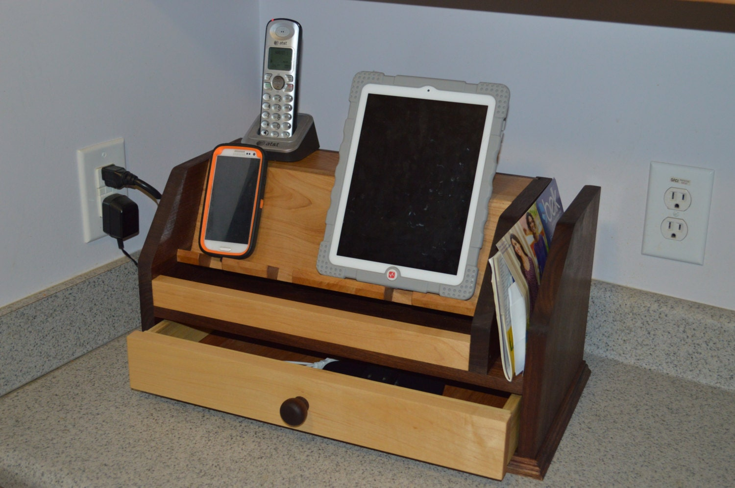 electronic device charging station with drawer by justholler. Black Bedroom Furniture Sets. Home Design Ideas