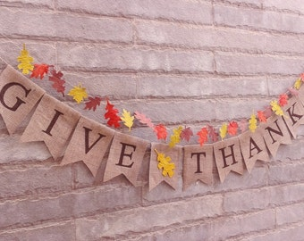 GIVE THANKS - Burlap banner with brown glitter letters – Fall sign,  Autumn banner, thanksgiving décor, Holiday banner