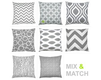 1 pillowcase graphic pattern GOTCHA 50 x 50 cm grey white