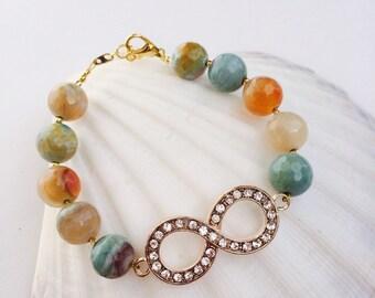 Infinity Aqua Agate Bracelet.