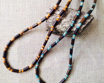 Brown & Blue Colored Wooden/Bead Necklace for Men. Also available in orange.