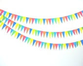 Rainbow Circus Bright Colors Triangle Long Pendant Bunting Garland Eco-fi Felt Eco-Friendly 6ft Child's Room Birthday Party Wedding