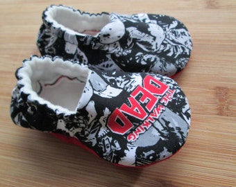 The walking dead baby,Halloween baby shoes,Lil ass kicker, zombie baby,ZOMBIE Apocalypse,Funny and Cute for Baby TWD Fans and Zombie Lovers,
