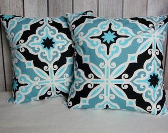 Blue Pillow Covers. Aqua Pillows. Blue Black Pillows. 18x18 Pillow Covers. Accent Pillows. Pillow Covers. Pillows