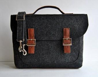 """Sale !!! Felt leather laptop bag 13"""" with leather briefcase 13 MacBook Pro laptop, urban felt bag, Common Laptop Leather Felt laptop bag"""