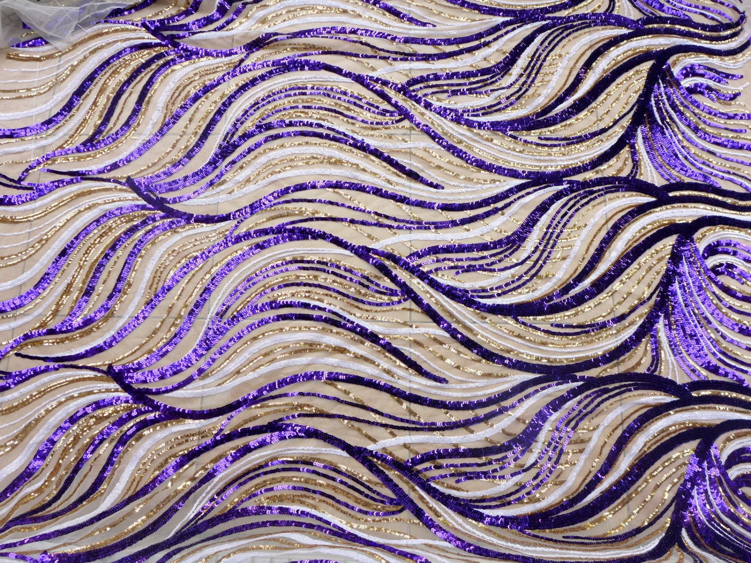 New purplewhite gold sequin embroidery fabric stage