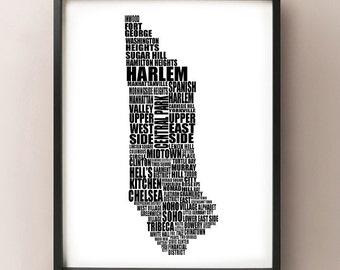 Manhattan Typography Map - New York City Neighborhood - NYC, Central Park