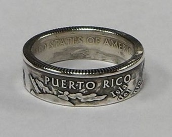 Puerto Rico  silver proof quarter  coin ring size  or pendant