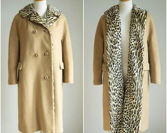 vintage 1960s leopard coat / 60s leopard print coat / The Fire Inside Coat