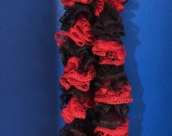 Red & Black Knit Ruffle Scarf