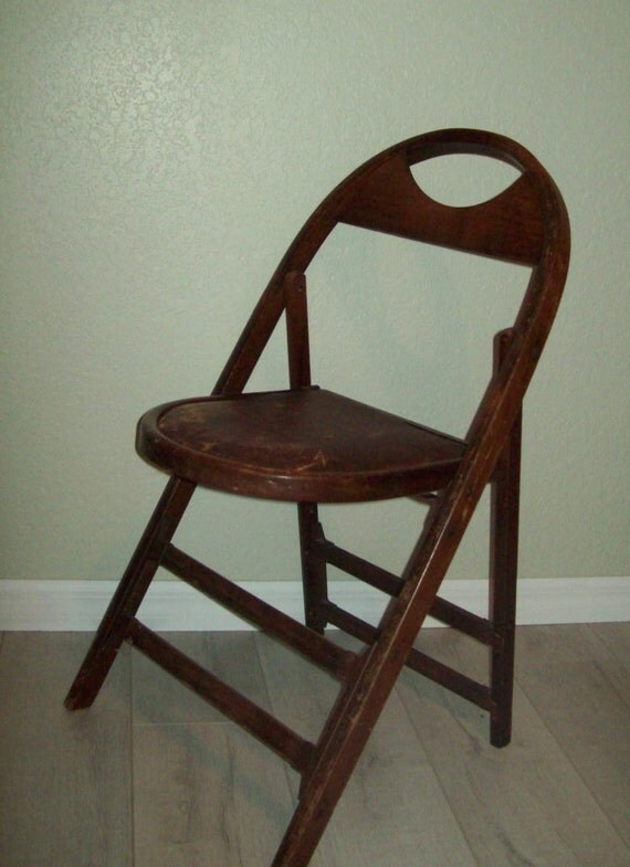 Antique Wood Folding Chair Vinyl Seat From BOOTH Funeral Home