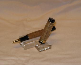 Handmade Titan Roller Ball Pen (Stabalized figured Catalphor with a 24 Kt  Gold finish)(includes a pen box)