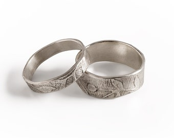 Leaf Bands, Wide Ring And Narrow Ring Set,  Sterling Silver Leaf rings, Unique Rings Set, Oxidized Silver Rings.