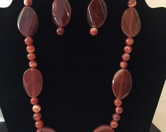 Red Fire Agate Necklace and Earring Set- ZJD142