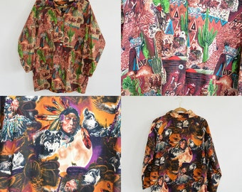 Amazing Vintage Cowboys and Indians Print Shirt Snap Front Reversible Cowboys One Side Indian the Other Side