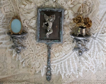 Antique Distressed Grouping Wall Decor Wall Shelf  Wall Cherub Wall Hanging Angel Gift Hand Painted Home Decor - Set of 3