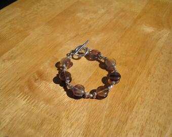 fluorite and  pewter  bracelet