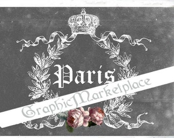 Chalkboard Paris French Large Image A4 Instant Download Vintage Transfer Fabric digital collage sheet printable No. 1010