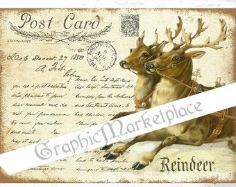 Reindeer Postcard Large Image Instant Download Vintage Transfer Fabric digital collage sheet printable No. 017