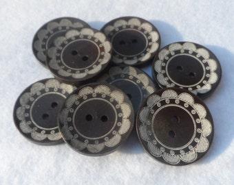 5 Wooden buttons Round Dark Brown with Flower 30mm