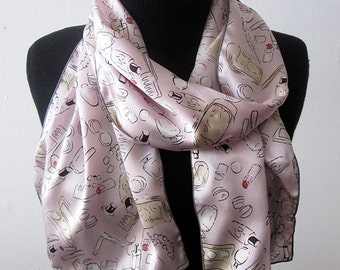 Pink Silk Scarf - Silk Charmeuse Scarf - Le Beau Cou