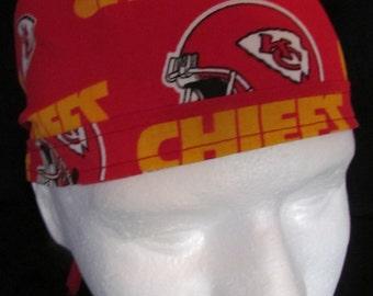 NFL Football Kansas City Chiefs Surgical Tie Back Scrub Cap Hat