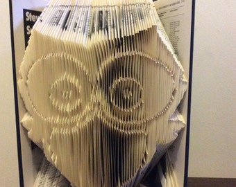 PATTERN for folded book art owl.  instant pdf download