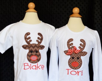 Reindeer with Bow Applique Shirt or Onesie Boy or Girl