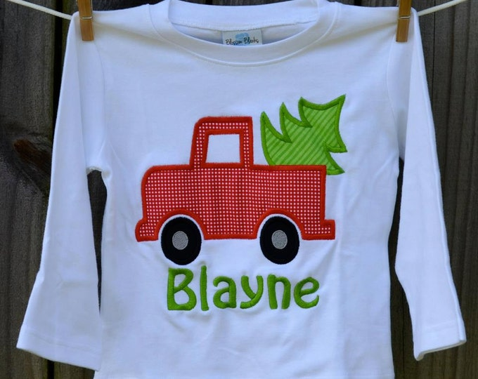 Featured listing image: Truck with Christmas Tree Applique Shirt or Onesie Boy or Girl