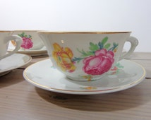 Antique tea cups, large vintage china cups,  antique cups with roses