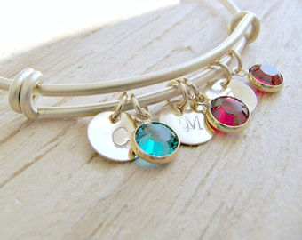 Personalized Initial Bangle Birthstone Bangle 14k Gold letter Bangle monogram Initials monogram Jewelry Mother's Bracelet Letter jewelry