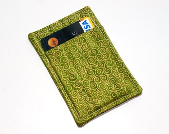 Gold and green card case - Credit card wallet - Minimalist wallet - Slim business card holder