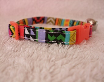 Red /Green Aztec Cat Collar with breakaway buckle and bell