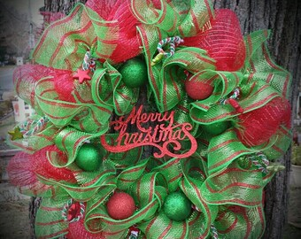 Christmas Deco Mesh Wreath, Ruffle Deco Mesh Wreath, Holiday Deco Mesh Wreath, Sale, Clearance