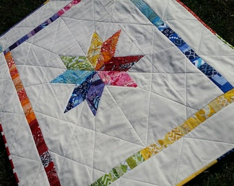 Happy Scrappy Quilt--Modern Star, Rainbow Quilt