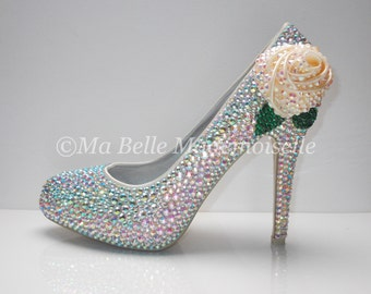 Rose Crystal Wedding Shoe's ( With Leaves )