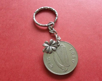 37th birthday gift 1980 Irish coin keyring Irish ten penny with lucky clover charm present for a man or woman