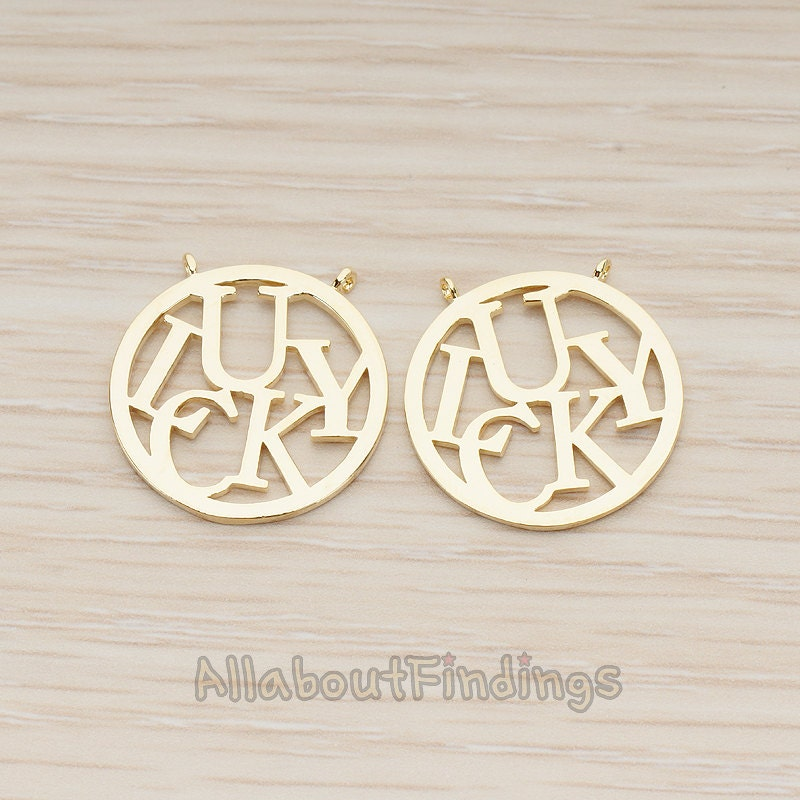 PDT1221-G // Glossy Gold Plated Round Lucky Charm Pendant, 2 Pc
